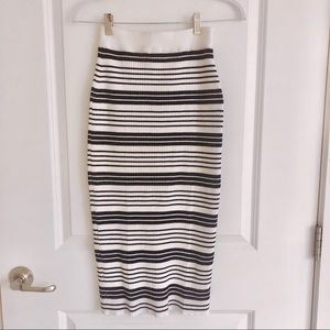 Anthropologie Moth Striped Ribbed Knit Skirt